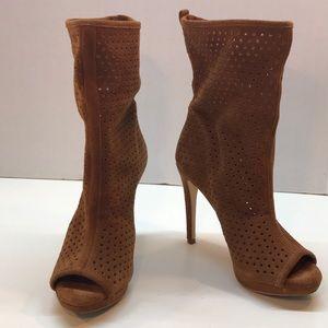 BCBGeneration Cognac Peep Toe Ankle Boots Size 6.5